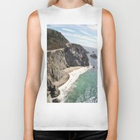 big sur Biker Tanks featuring Big Sur Bridge by The Aerial Photography Shop