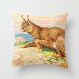 Lynx from the Quadrupeds series for A&G 1890 // Colorful Animal Painting Detailed Dots Throw Pillow