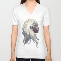 bag V-neck T-shirts featuring Mother of Dragons by Artgerm™