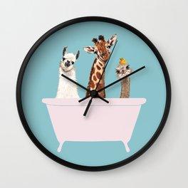 Playful Gangs in Bathtub Blue Wall Clock