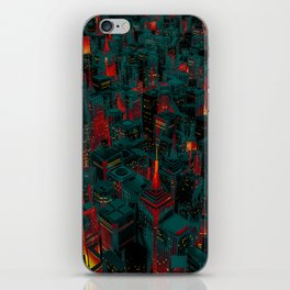 Night city glow cartoon iPhone Skin