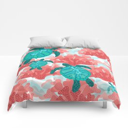 Sea Turtles in The Coral - Ocean Beach Marine Comforters