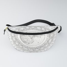 Mandala with Full Moon and Constellations Illustration Fanny Pack