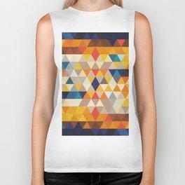 Geometric Triangle - Ethnic Inspired Pattern - Orange, Blue Biker Tank