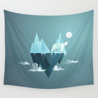 low poly Wall Tapestries featuring Low Poly Polar Bear by scarriebarrie