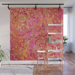 Hot Pink and Gold Baroque Floral Pattern Wall Mural