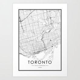Toronto City Map Canada White and Black Art Print