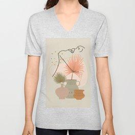 Palm leaf woman's neck line art print, boho woman face illustration, mid century modern, fashion art Unisex V-Neck