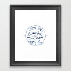 Something Beautiful is On the Horizon Blue Framed Art Print