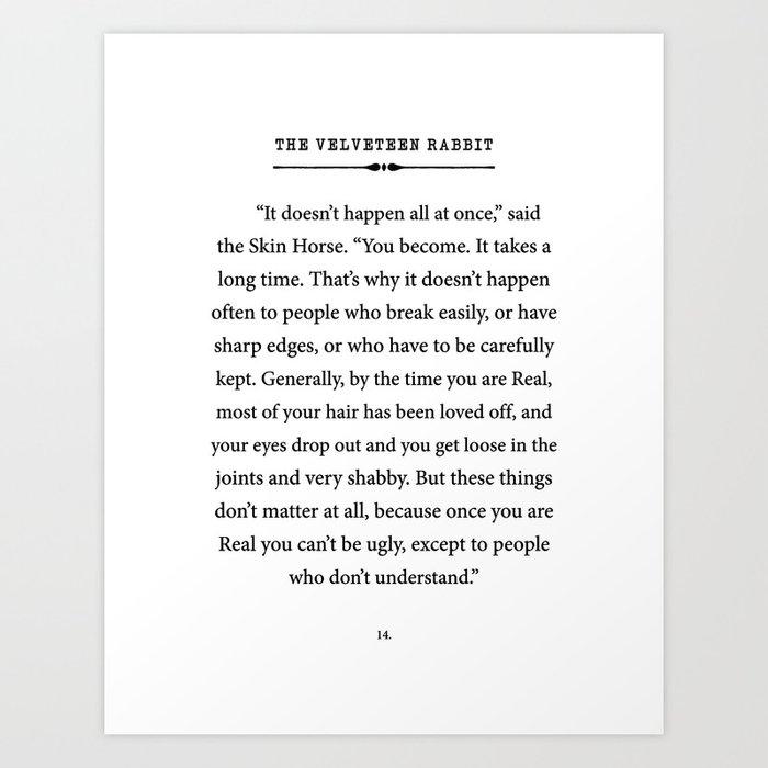 The Velveteen Rabbit ~ You become Real Kunstdrucke