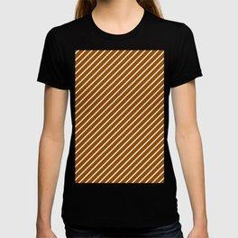 Diagonal Lines (White/Brown) T-shirt