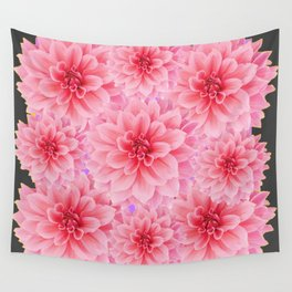 PINK DAHLIA FLOWERS IN GREY DESIGN Wall Tapestry