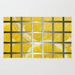 Lemon Slices & Square Grid Collage Metallic Rug