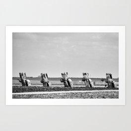 Amarillo Cars Black White Art Print