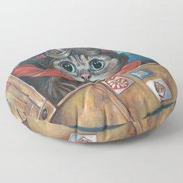 Lil Bub Takes Flight, cute cat art, oil painting portrait, flying plane in sky, kitty, kitten Floor Pillow