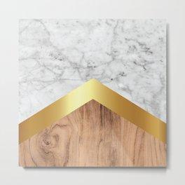 Arrows - White Marble, Gold & Wood #851 Metal Print