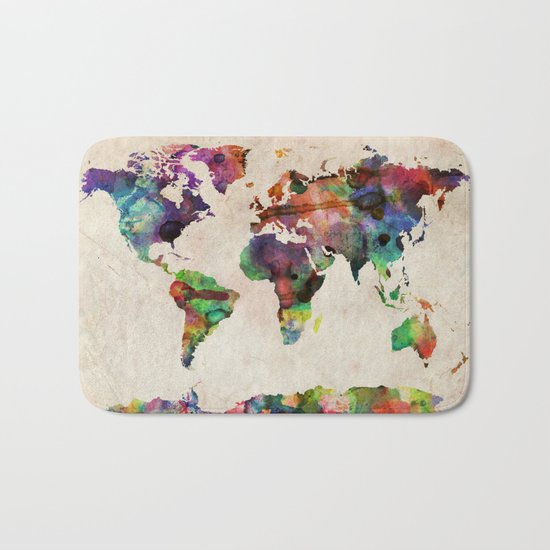 World Map Urban Watercolor Bath Mat