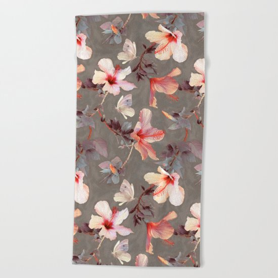 Coral Hibiscus Beach Towel