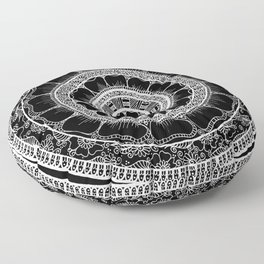 Circle - Mandala - Love Wealth Health Youthfulnes - Black White Floor Pillow