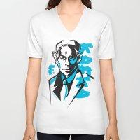 kafka V-neck T-shirts featuring Kafka portrait in Blue & Black by aygeartist