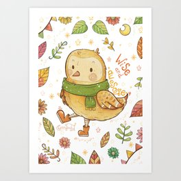 Wise and Awesome Owl Art Print