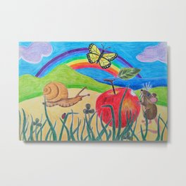 Little Garden Friends Snack Time Metal Print