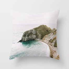 Coast, England art, Nature, Minimal art photo print Throw Pillow