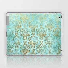 Mermaid Gold Aqua Seafoam Damask Laptop & iPad Skin