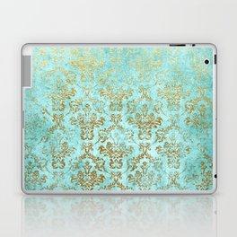 Mermaid Gold Aqua Seafoam Damask Laptop & iPad Skin