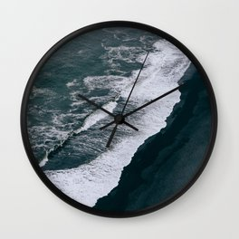 Black Sand Beach and Waves in Iceland Wall Clock