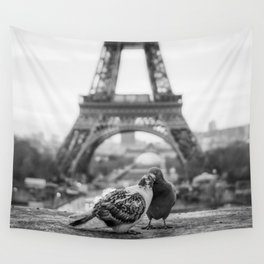 Love Birds (Black and White) Wall Tapestry