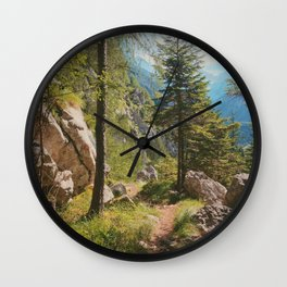 Green forest in the mountains Wall Clock