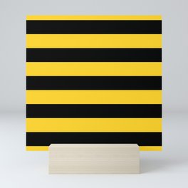 Yellow and Black Honey Bee Horizontal Cabana Tent Stripes Mini Art Print