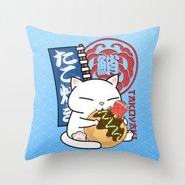 Chubby Cat Takoyaki Octopus Balls  Throw Pillow