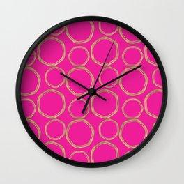 Hot Pink & Gold Circles Wall Clock