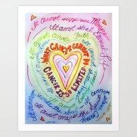 Rainbow Heart Colorful Cancer Poem Art Print