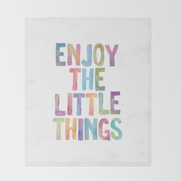 Enjoy the Little Things Watercolor Rainbow Design Inspirational Quote bedroom Wall Art Home Decor Throw Blanket