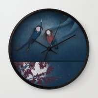 constellations Wall Clocks featuring Constellations by Ramona Treffers