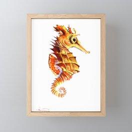 Seahorse, orange yellow cute animals illustration children room nursery sea world art Framed Mini Art Print