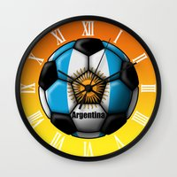 argentina Wall Clocks featuring Argentina Ball by kuuma