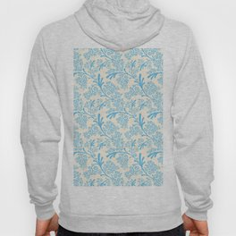 Vintage chic pastel blue ivory floral damask pattern Hoody