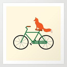 Fox Riding Bike Art Print