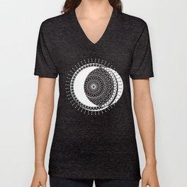 Moon Mandala (White) Unisex V-Neck