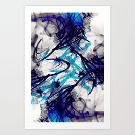 All Over Abstract Pollock Style Aqua and Blue Art Print