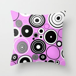 Geometric Black And White Circles On Pastel Pink Throw Pillow