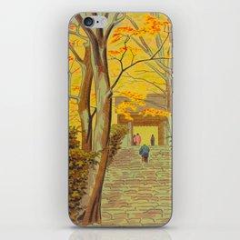 Asano Takeji Japanese Woodblock Print Vintage Mid Century Art Autumn Trees Shinto Shrine iPhone Skin