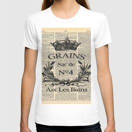 dictionary print rustic shabby french country wheat wreath T-shirt