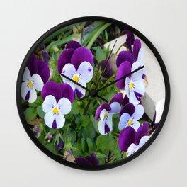 Purple pansy Wall Clock