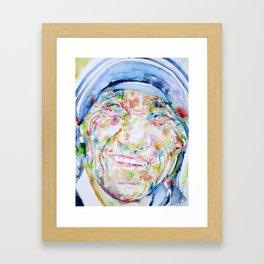 MOTHER TERESA - watercolor portrait Framed Art Print
