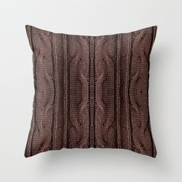 Brown braid jersey cloth texture abstract Throw Pillow